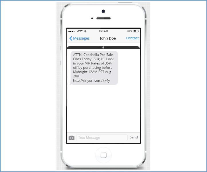 Coachella SMS Alert Example